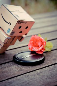 Danbo finds a Canon cap. by girl-loves-guitar