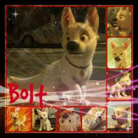( Disney ) Bolt the Albino German Shepard Collage by KrazyKari