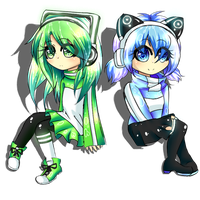 Commission: Color Coordinated Twins by BrokenBlackSymphony