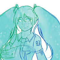 Hatsune Miku bust sketchy thingy by lupie1324