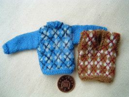 1:12th scale Mans Argyle Sweaters by buttercupminiatures