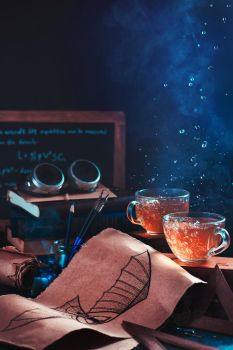 Steampunk tea (with goggles and blueprints) by dinabelenko
