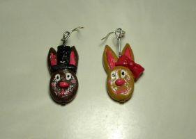 Bunniy Earrings Mr. and Mrs. Rabbit by kratosisy