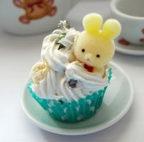 Yellow Bunny Cupcake Necklace by AndyGlamasaurus