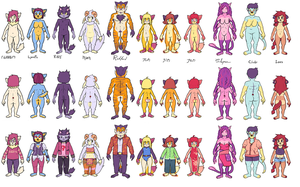 FURRY CHARACTER LINE-UP 2012 by Rokkan-Illidian