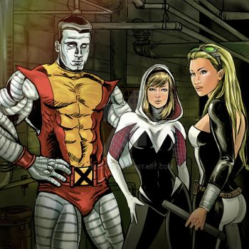 Colossus, Spider-Gwen, Mockingbird by SCMartel