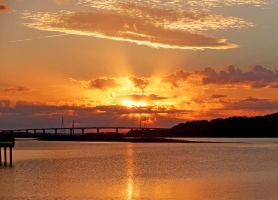 Sunset over Skull Creek in Hilton Head Island, SC by winterface