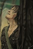 Daryl Dixon Pastel Drawing by Arc-Su-Namun
