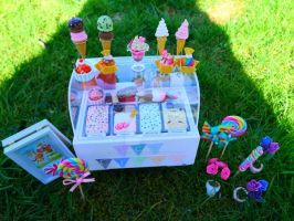 Ice cream stand in my garden in 1:6 by LittlestSweetShop