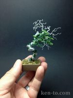 Green wire bonsai tree sculpture by Ken To by KenToArt