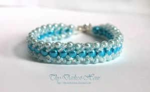 Flat Spiral Bracelet in Sea Blues by Thy-Darkest-Hour