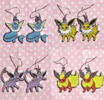 Cute Eeveeloution charm earrings by KawaiiMoon24