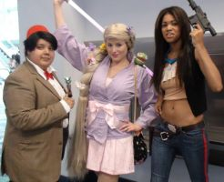 Dr Who, Rapunzel, and Female Han Solo at WonderCon by trivto