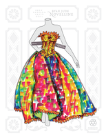 Paper Doll Golden Book Gown Fashion Illustration by NovellineArt