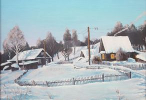 Winter in the Russian village by Ferenbach