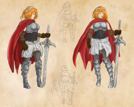 Concept art - Female knight Misa by vancouverpeewee