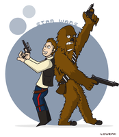 Han Solo and Chewbacca by Loweak