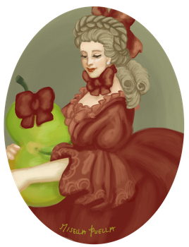Portrait of a Lady and her Pear by misellapuella