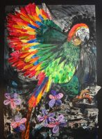 Parrot and Flowers by lianne123