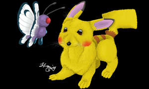 Pikachu n' Butterfree doodle by ConkerTSquirrel