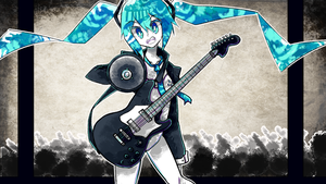 Commission - Rockin' Miku by MishaRoute