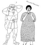 Nutty Professor Hercules lineart by ColdHeartedCupid
