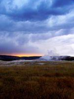 Sunset Over Old Faithful by fe208