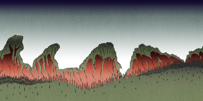 Scenic Hills - Japanese Ukiyo-e Style Painting by CorryRox