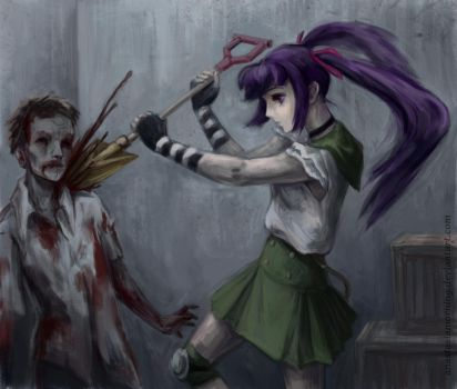 A girl who fought zombies by AnastasiaMorning