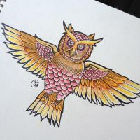 Owl tattoo design by Unmei-Wo-Hayamete