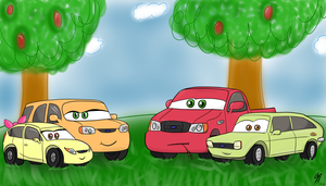 Apple Family as Cars by pancake-ss