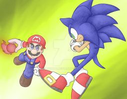 Mario Vs. Sonic - coloured by N0B0D1