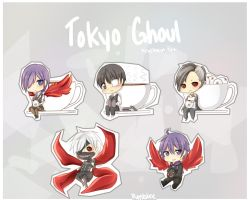 Tokyo Ghoul Keychain Set by Rmblee