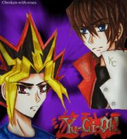 Kaiba and Yami Split-Screen by broken-with-roses