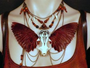 Mink skull necklace with hand-dyed sparrow wings by Genevieve-Amelia