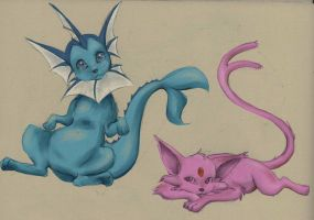 Vaporeon and Espeon by MoonLightRose17