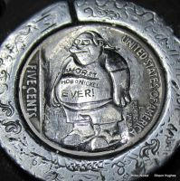 The Worst Hobo Nickel Ever Comic Book Guy Coin WIP by shaun750