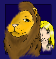 Ayla and The Cave Lion by youkaiyami
