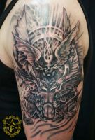 Angel and Demon Tattoo done by Sean Ambrose by seanspoison