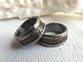 bronze silver rings with gemstone by Siihraya