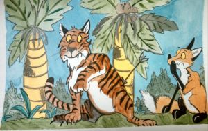 the fox and the tiger. Aesop's fable by Waddle2u