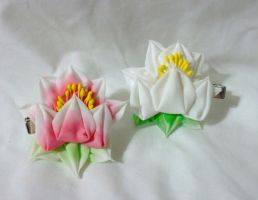 Tattoo style lotus kanzashi clips by EruwaedhielElleth