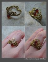 Amber steampunk rings by bodaszilvia