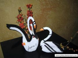 3D Origami Black Swans with Flowers by jchau