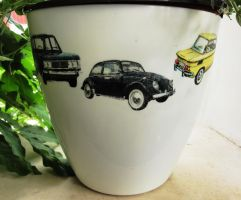 Flower Pot all stars cars volkswagen beetle VW by naraosart