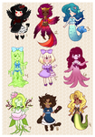 Cute Monster Girls Adopts [SOLD] by Pyonkotcchi