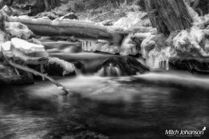 Icicles Over the Water BW by mjohanson
