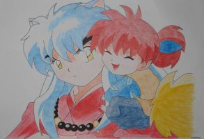 Inuyasha and Shippo by mew-christiana