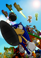 Sonic the Hedgehog and friends by dashal
