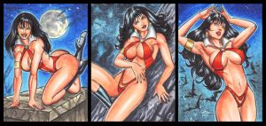 VAMPIRELLA PERSONAL SKETCH CARDS SEPTEMBER 2014 by AHochrein2010